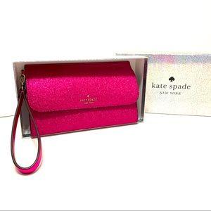 Kate Spade Lola Glitter Medium Phone Wristlet Pink